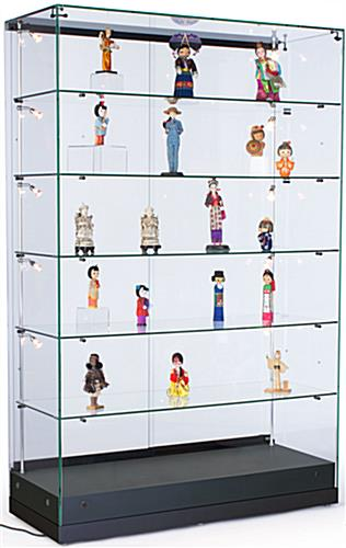 Display Cases: Feature Vertical Lighting & Adjustable Shelving - Semi Gloss Black MDF