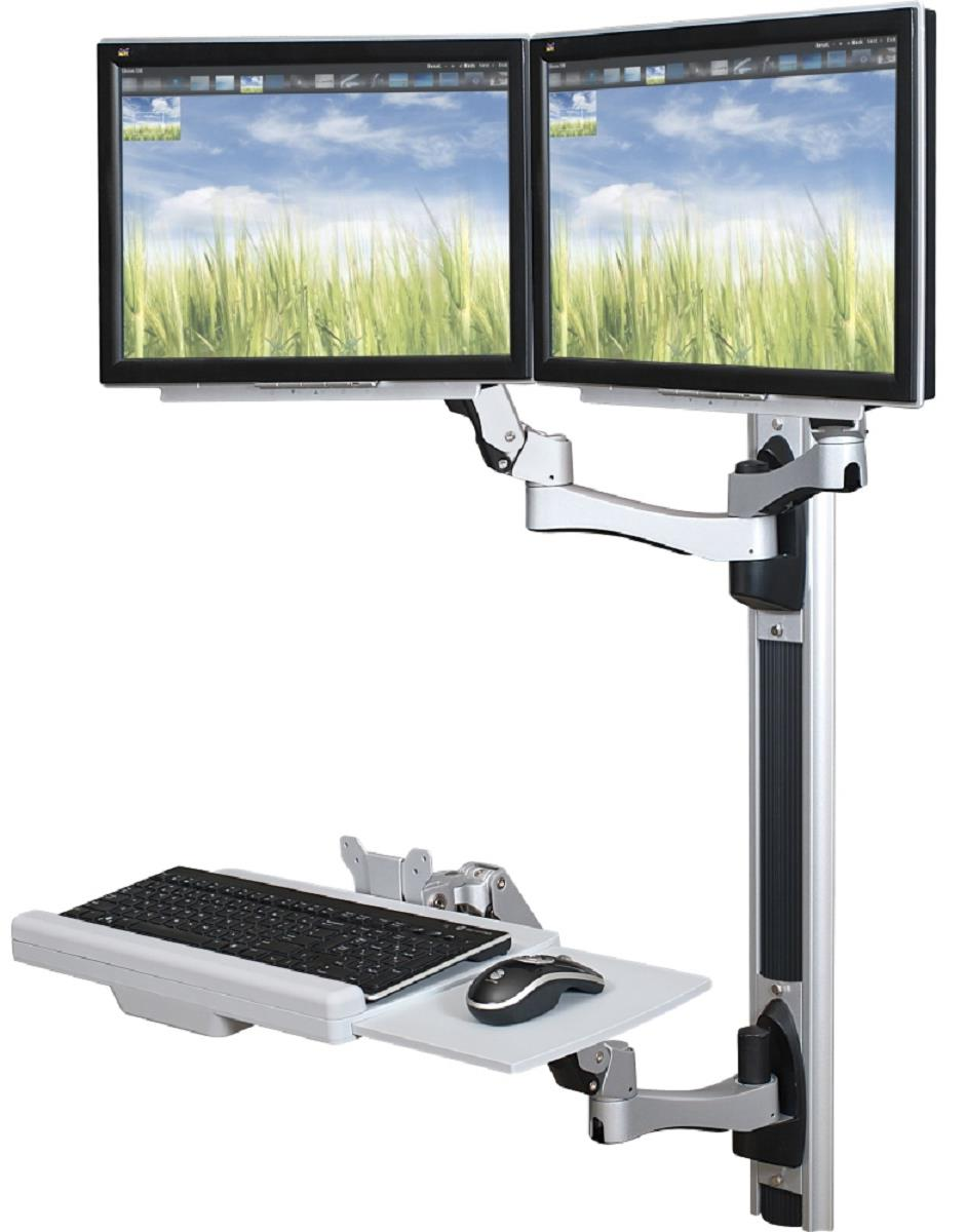2 Screen Wall Mount Standing Work Station 2 24 Inch