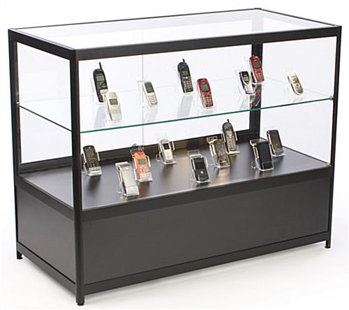 commercial retail counters glass with locking black case. Black Bedroom Furniture Sets. Home Design Ideas