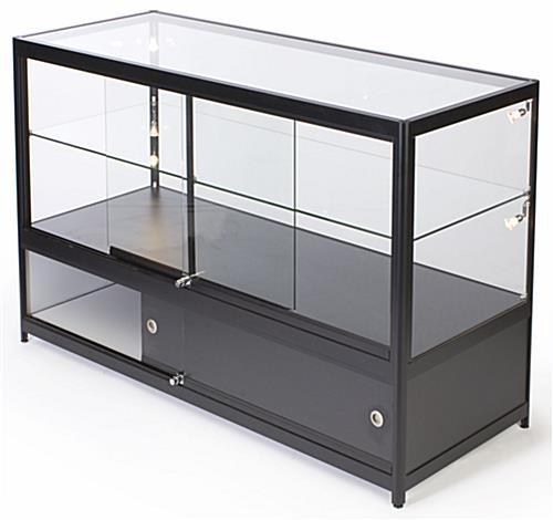 glass display cabinet 5 foot storage base merchandise display halogen side lights 15831