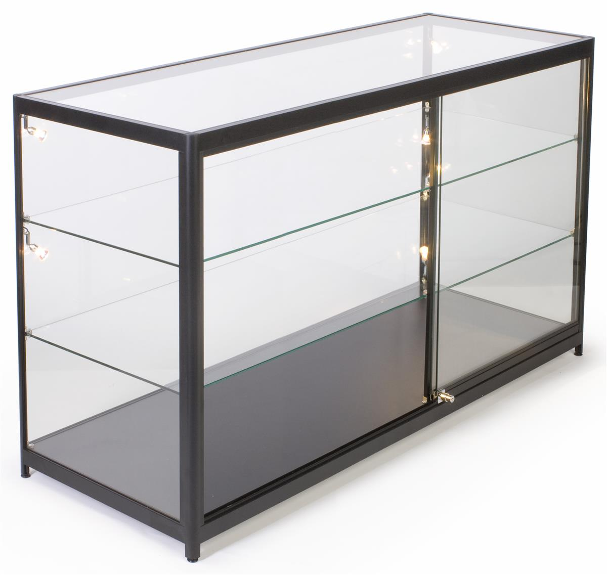 glass top illuminated merchandise display case halogen lighting. Black Bedroom Furniture Sets. Home Design Ideas