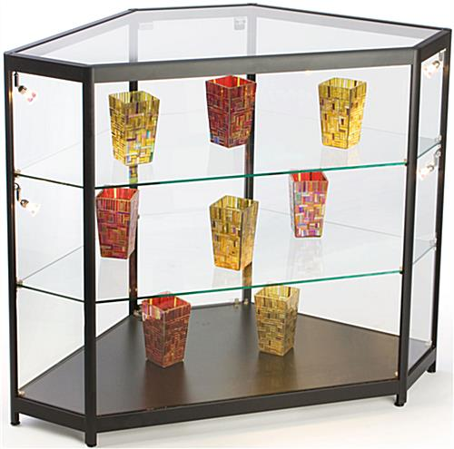 Black Corner Display Cases Tempered Glass Construction