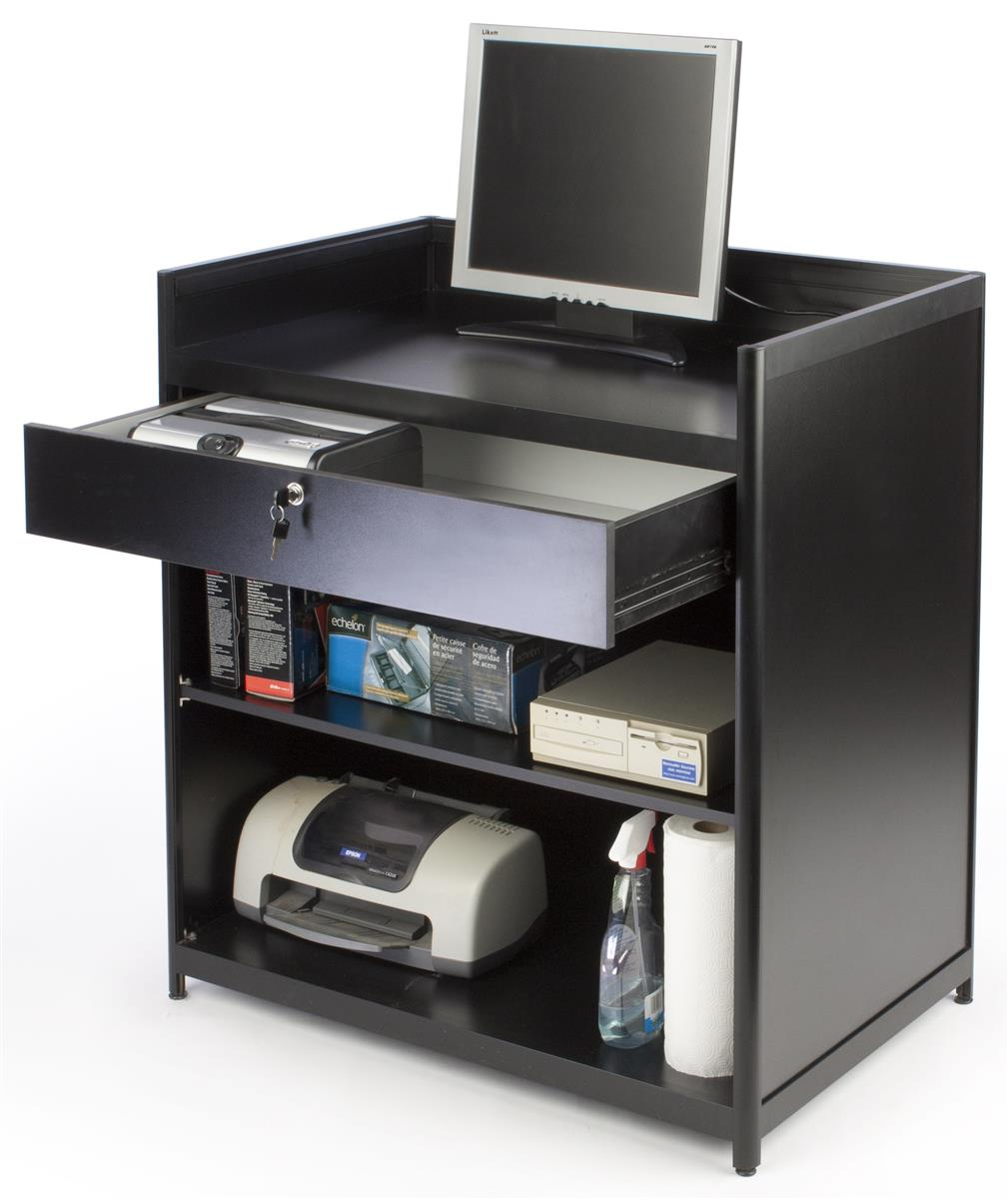 Cash Register Stand Locking Drawer With Shelves
