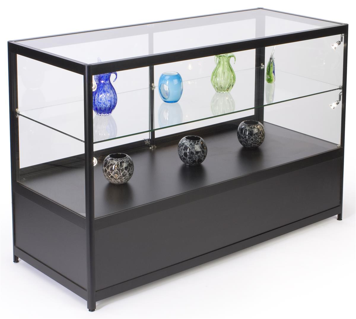 led storage retail display case black aluminum tempered glass. Black Bedroom Furniture Sets. Home Design Ideas