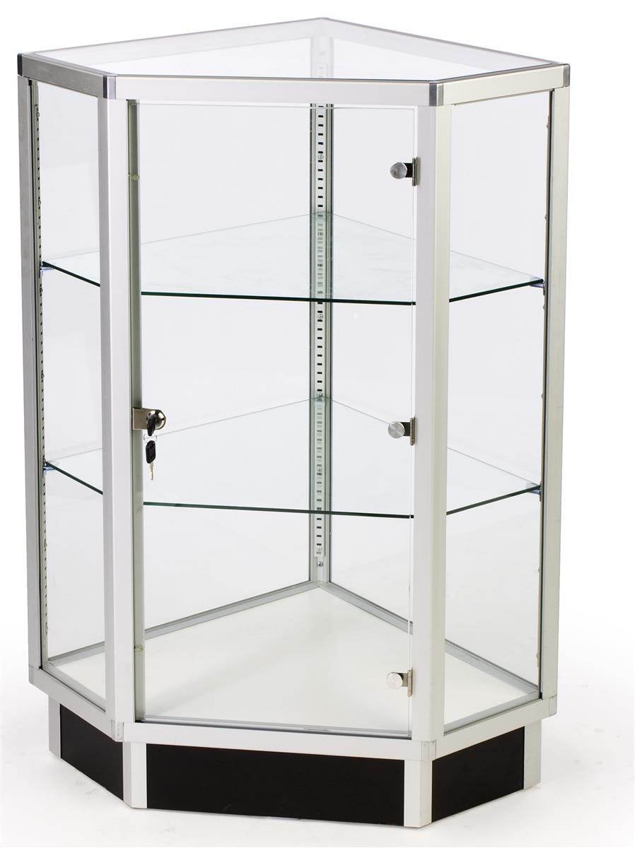 Store Counter Display Wide Glass Corner Cabinet