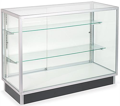 Retail Store Checkout Counters Full Vision Silver Cabinets