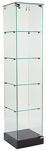 Tower Display That Has A Frameless Glass Design - Assembly Required Black Laminate Finish