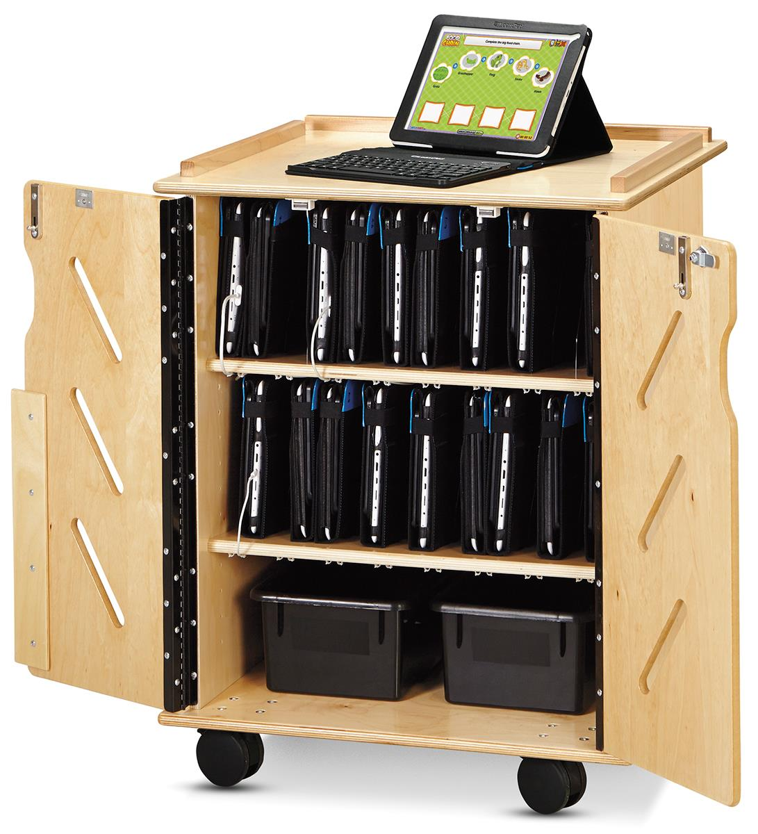 Wood Finish Tablet Cart Portable Secure 32 Device Stoarge