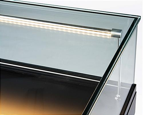these led display cases have black finishing at the base of the cabinet these glass showcases. Black Bedroom Furniture Sets. Home Design Ideas