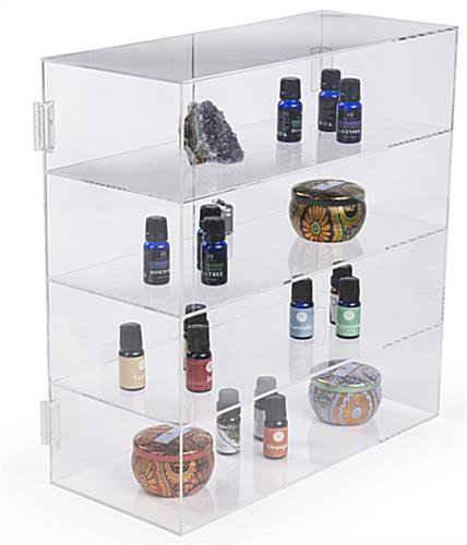 these acrylic display cases have hinges on the doors for fast access rh storefixture com