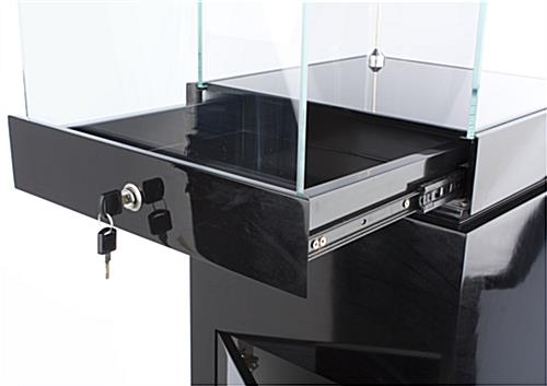 Museum Showcases w/Black Gloss Stand And Tempered Glass Top