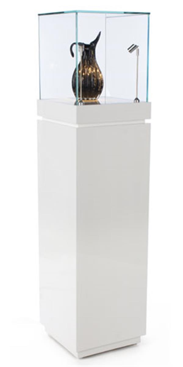 This White Gloss Trophy Case With Lighting Has Same Day
