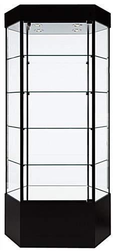 Cool Tower Display Hexagonal Black Melamine With Modern Trophy Cabinet