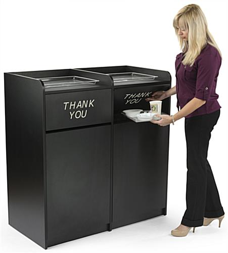 Displays2go 36 Gallon Restaurant Trash Can With Hinged Door Tray Holder Thank You Message