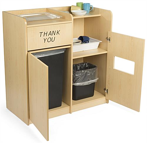 Dual Trash Can And Recycling Receptacle Dish Compartment