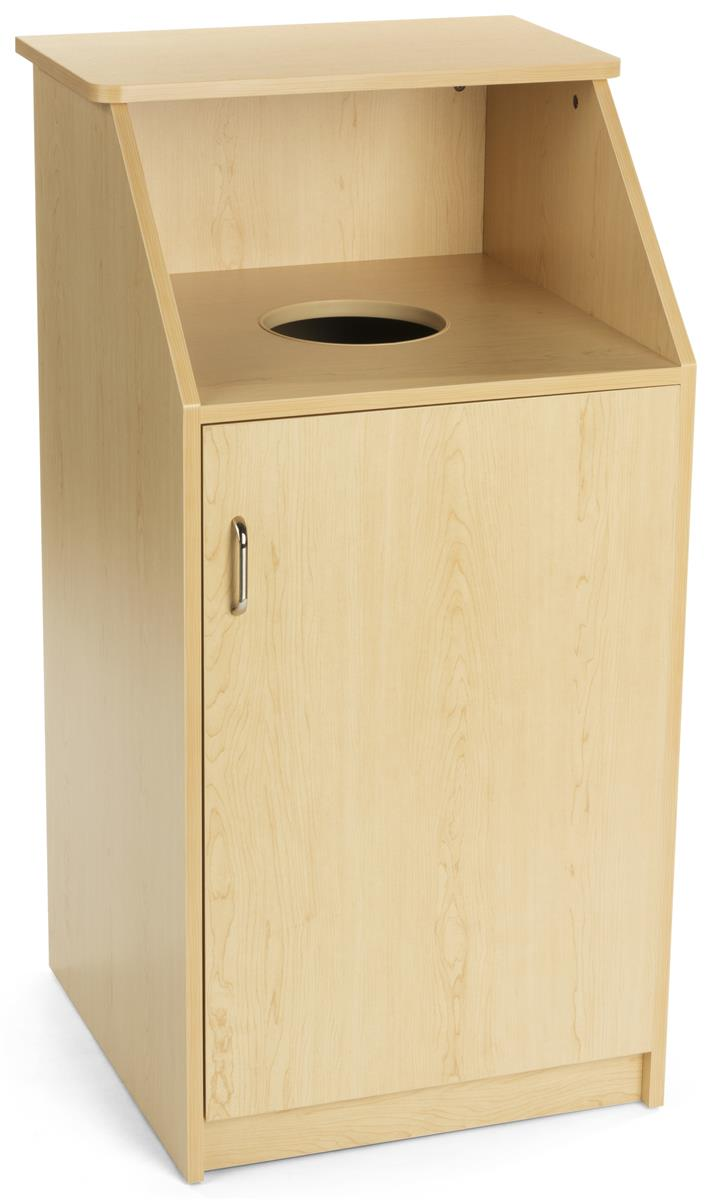 Large Waste Receptacle With Maple Finish Top Loading Design