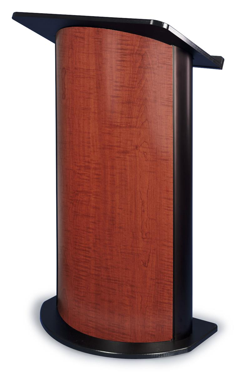 Curved Lectern Aluminum Uprights Cherry Wood Front