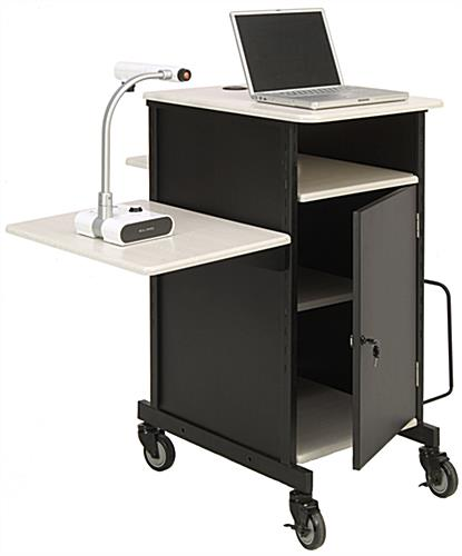 Document Camera Cart with Adjustable Side Shelf