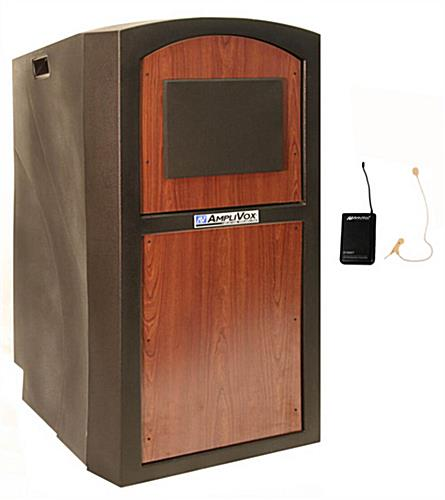 Deluxe Floor Lectern with 4 Outlet Power Strip