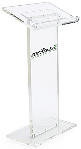 Vinyl Logo Transparent Podium with Cleaning Solution