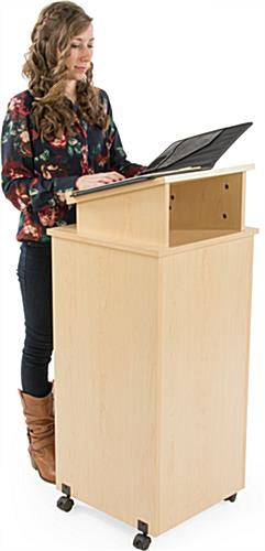 Rolling Lectern Has an Elevated Reading Surface