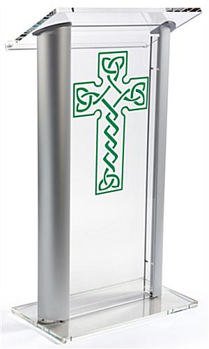 Acrylic Pulpit with Celtic Cross has Four Rubber Feet