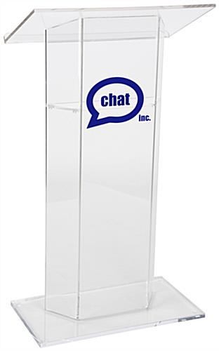 Custom Graphic Plexiglass Lectern, Floor Standing
