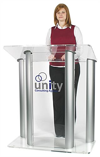 Large Lucite Lectern with 2-Color Graphic, Floor Standing