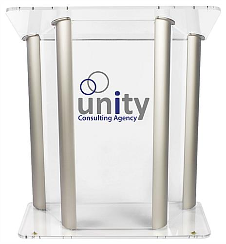 Large Lucite Lectern with 2-Color Graphic, Aluminum