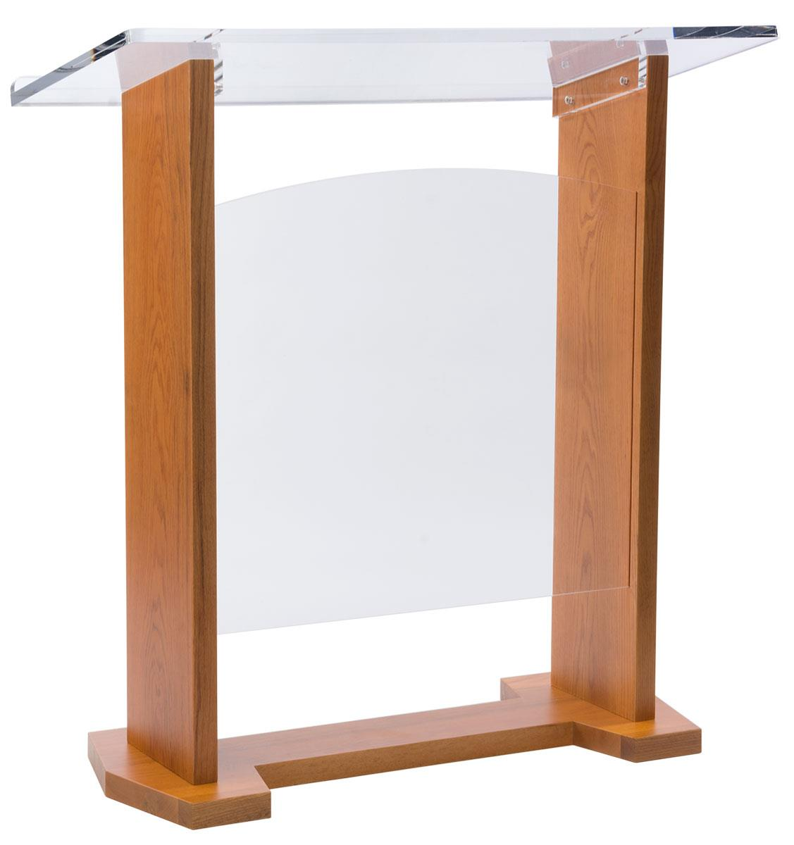 Large church pulpits wide reading area with light oak finish