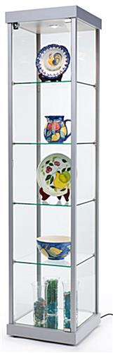 Illuminated Tower Display Cabinet, Silver