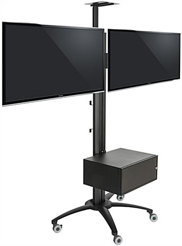 Double Lcd Monitor Stand On Wheels 30 Quot 60 Quot Vesa Bracket