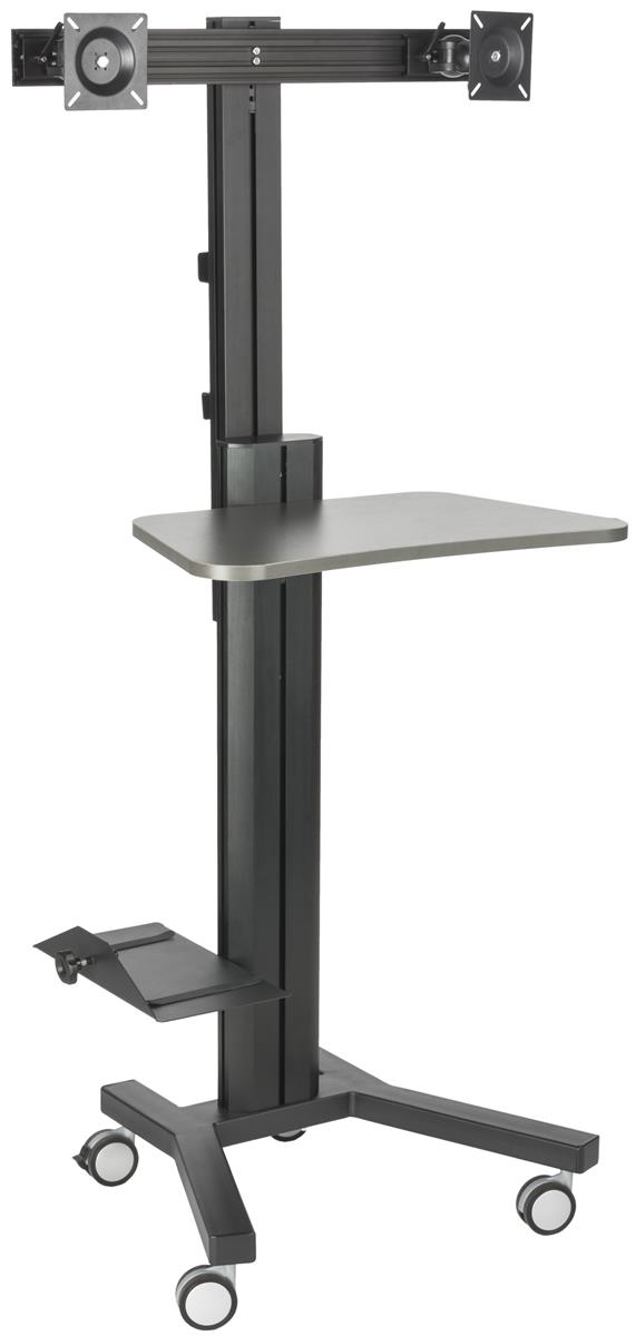 Dual Monitor Stands With Shelf Ledge For Computer Towers