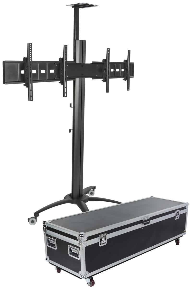 Rolling Dual Monitor Stands 4 Locking Casters
