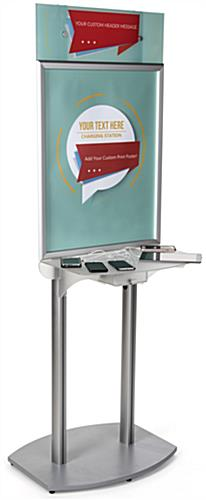 poster frame charging station kiosk frosted device shelf