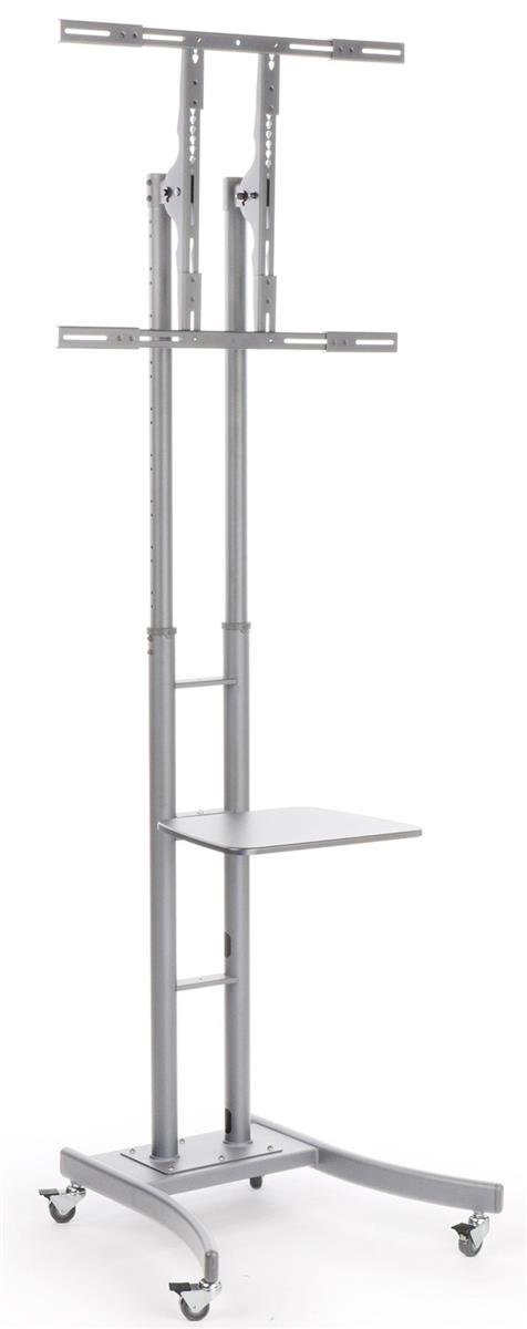 Rolling Television Stand W Shelf Adjustable Silver