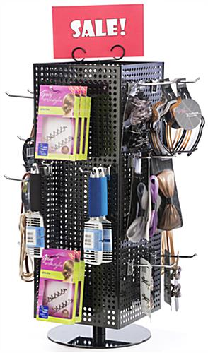 Countertop Pegboard Display with Chrome Hooks for Retail Use