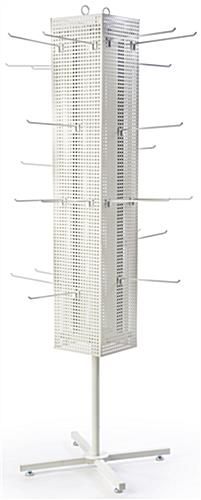 White Pegboard Display Rack with X-Shaped Base