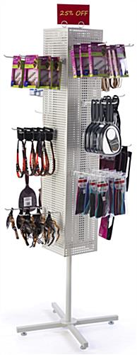 White Pegboard Display Rack- Rotating