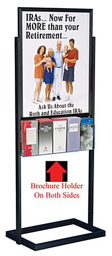 Poster Dipslay Fixture Black Double-Sided With 10 Brochure Holders