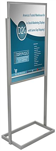 "Silver 24"" x 36"" Metal Poster Stand with 2 PVC Lenses & Backer"