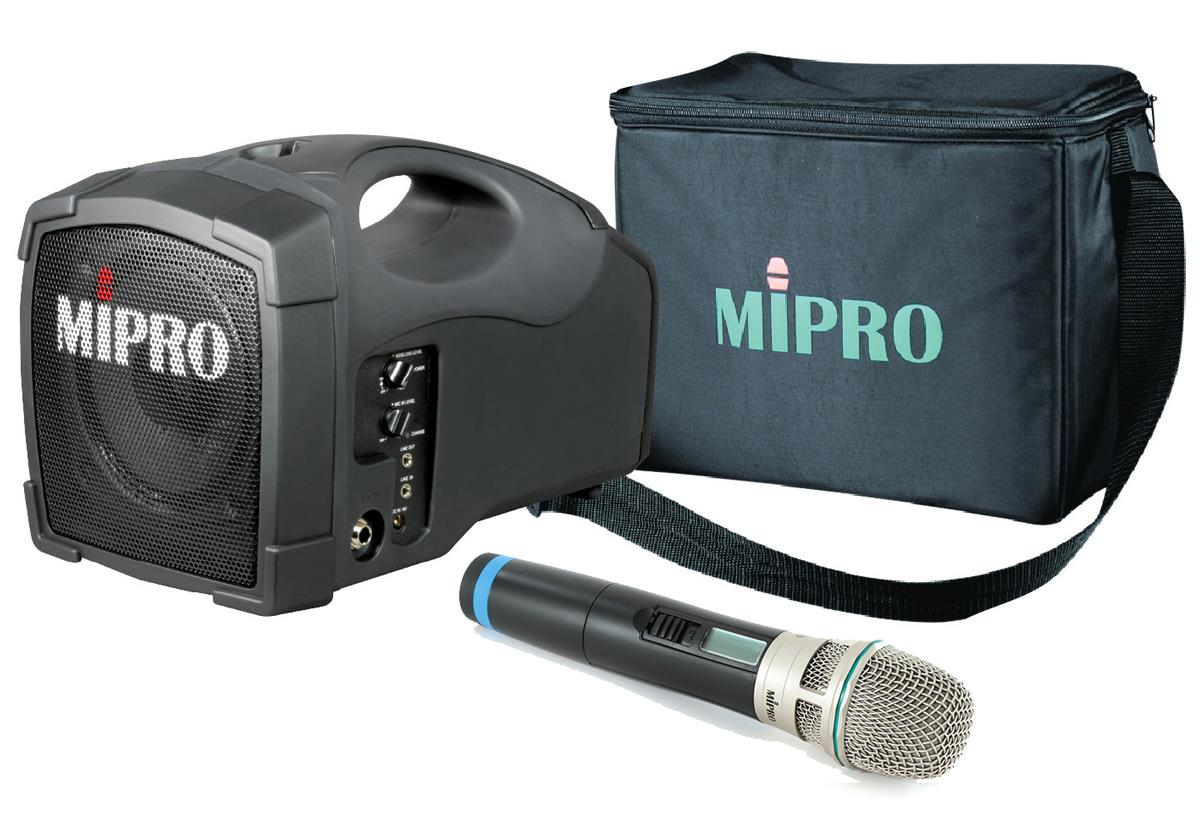 portable pa system features wireless mic and 5 speaker. Black Bedroom Furniture Sets. Home Design Ideas