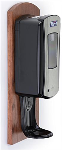 Commercial Hand Sanitizer Wall Mount Cherry Finish Backer