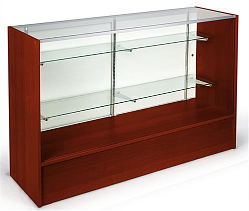 glass front display case 60 inch wide cherry finish fixture. Black Bedroom Furniture Sets. Home Design Ideas
