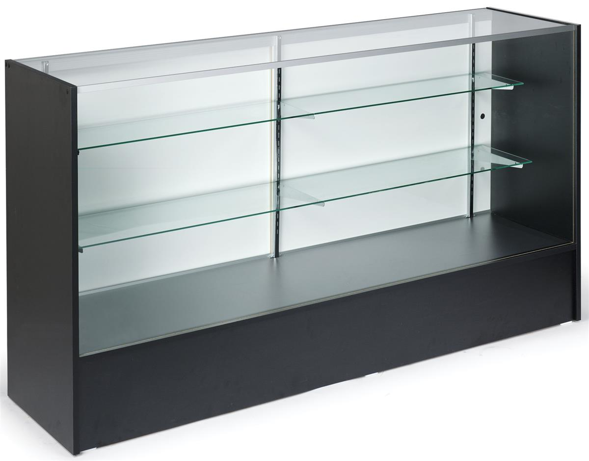 Black Display Counters 2 Adjustable Height Glass Shelves