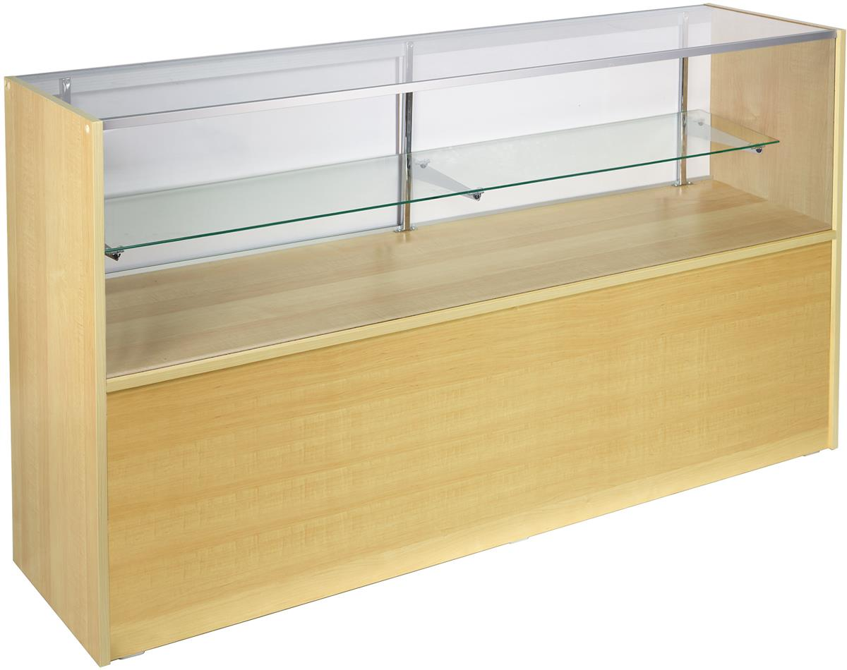 Glass Display Counter For Sale 5 Foot Wide Maple Half View