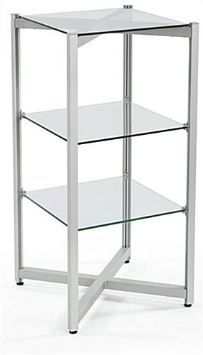 tiered glass shelving displays stainless steel rack rh storefixture com floating glass retail shelves glass store shelves