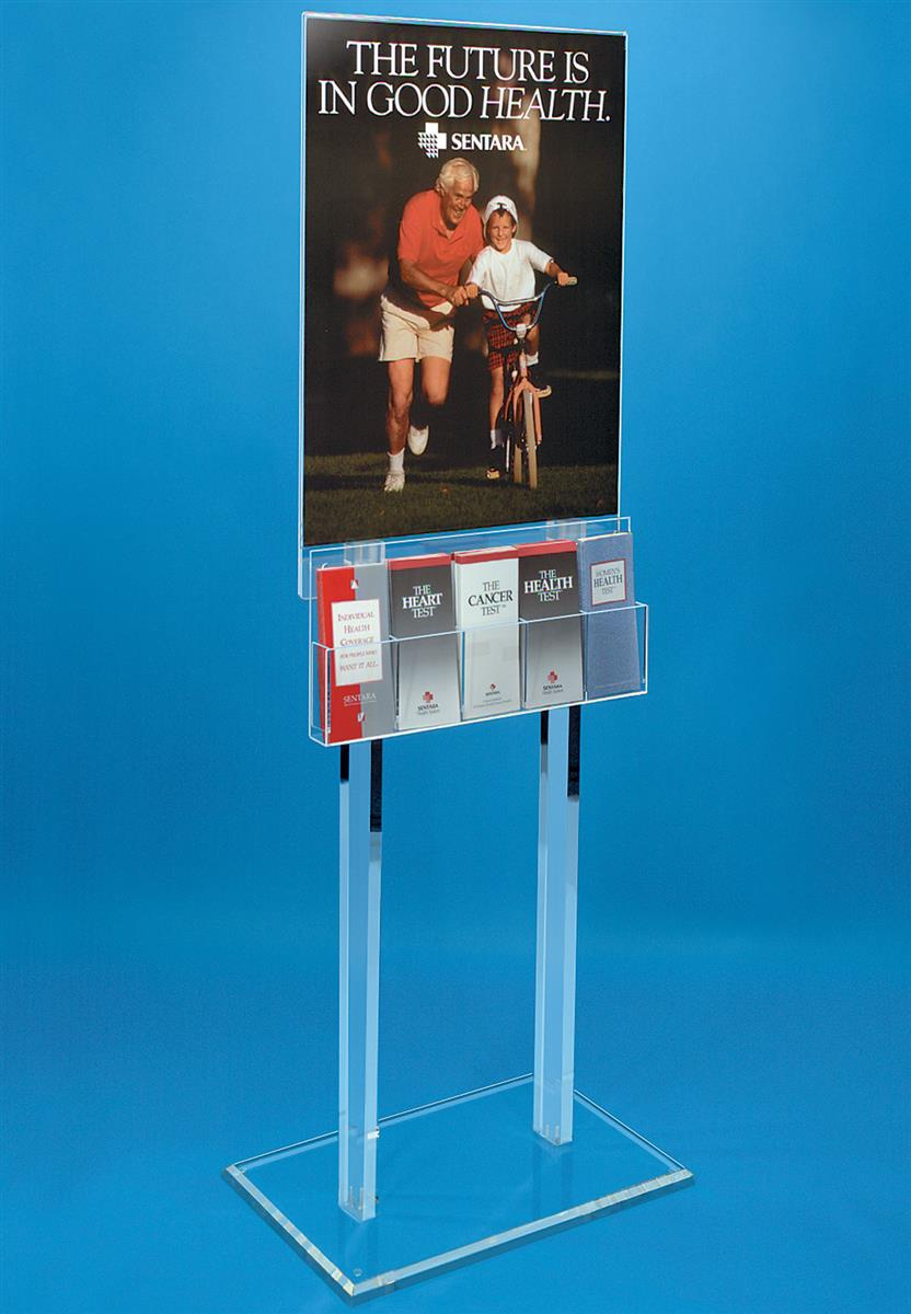 Publication Stand With Poster Display Clear With Black
