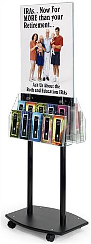 Poster Display Fixture - Black Acrylic With Roller Wheels