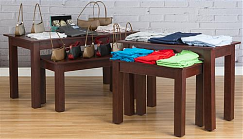 Cherry Wood Nesting Tables in a Retail Store
